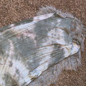 F21 green tie die dress